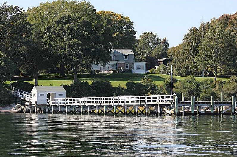 461 Poppasquash Rd, Bristol, RI from water showing dock
